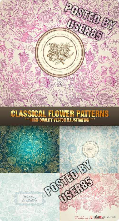 Stock Vector - Classical Flower Patterns