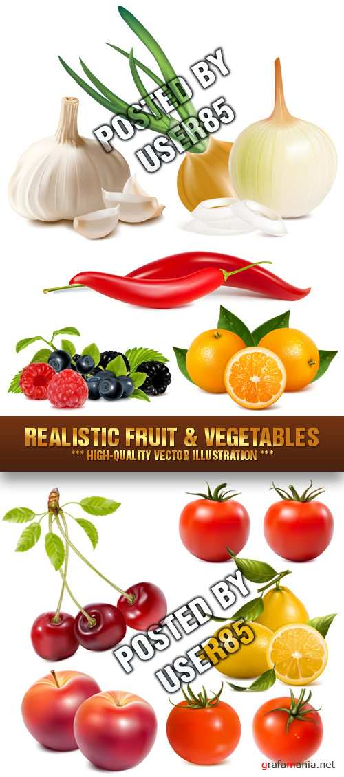 Stock Vector - Realistic Fruit & Vegetables