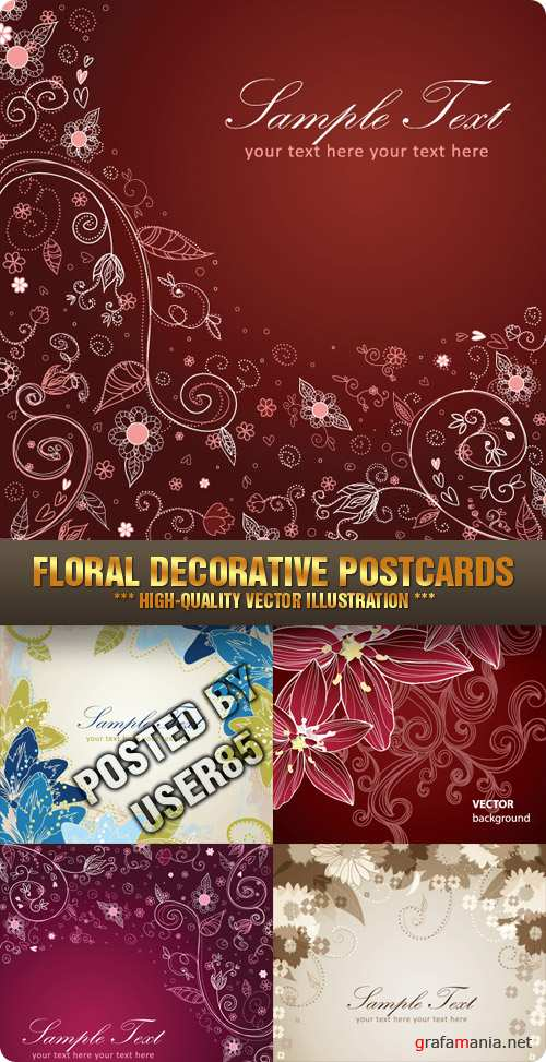 Stock Vector - Floral Decorative Postcards