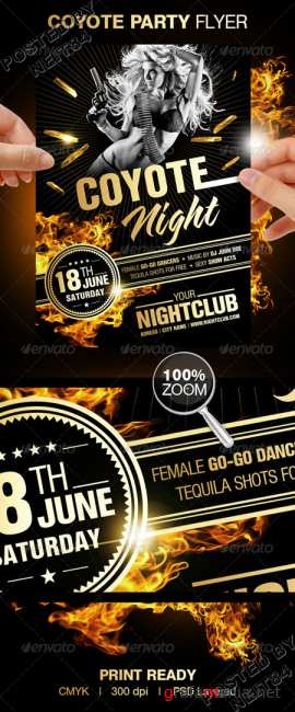Graphicriver Coyote Night Party Flyer 156419