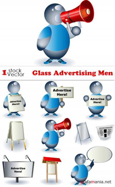 Glass Advertising Men Vector