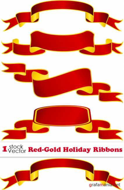 Red-Gold Holiday Ribbons Vector