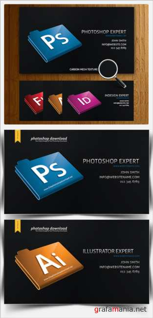 Black Designer Business Card  PSD Template