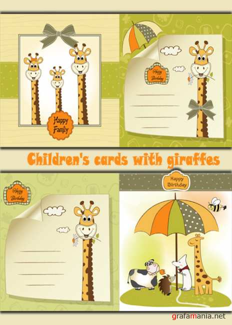 Children's cards with giraffes