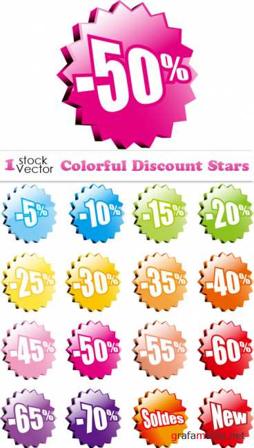 Colorful Discount Stars Vector