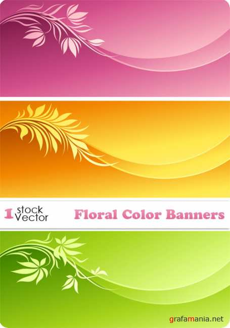 Floral Color Banners Vector
