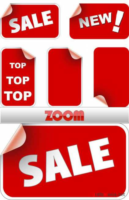 Red Sale Stickers Vector