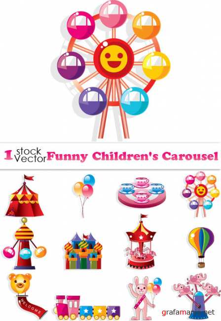 Funny Children's Carousel Vector