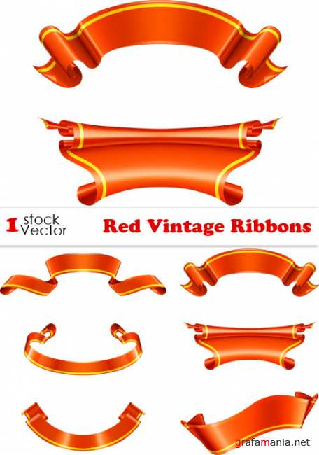 Red Vintage Ribbons Vector