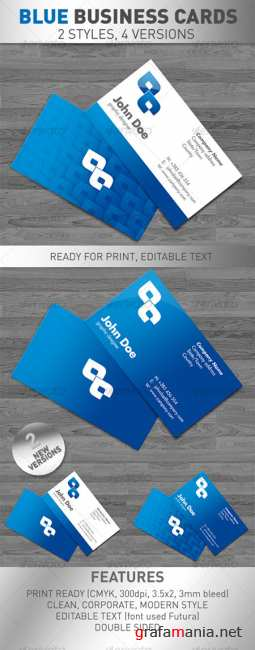 Blue Business Cards 4 VERSIONS - GraphicRiver