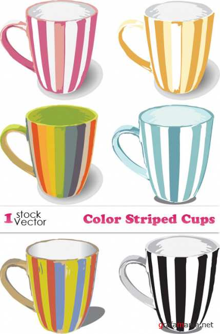 Color Striped Cups Vector