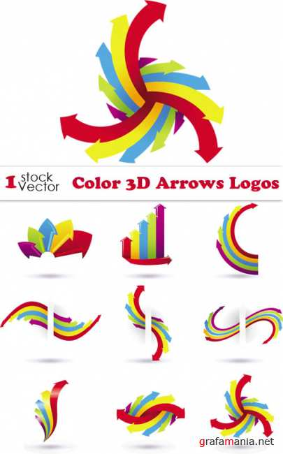 Color 3D Arrows Logos Vector