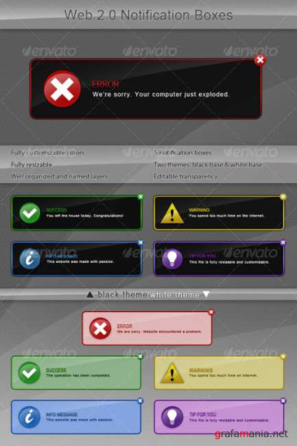 Web 2.0 Notification Boxes - GraphicRiver
