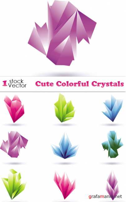 Cute Colorful Crystals Vector