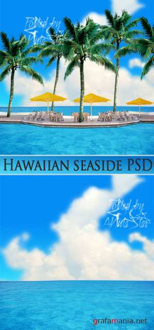 Hawaiian seaside PSD