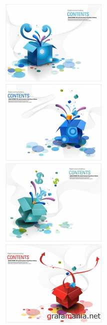 4 colorful box open vector