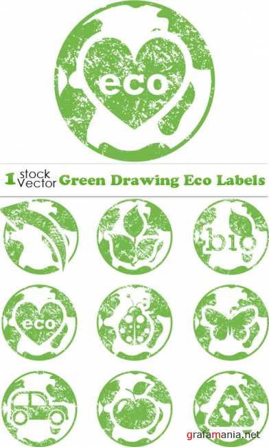 Green Drawing Eco Labels Vector