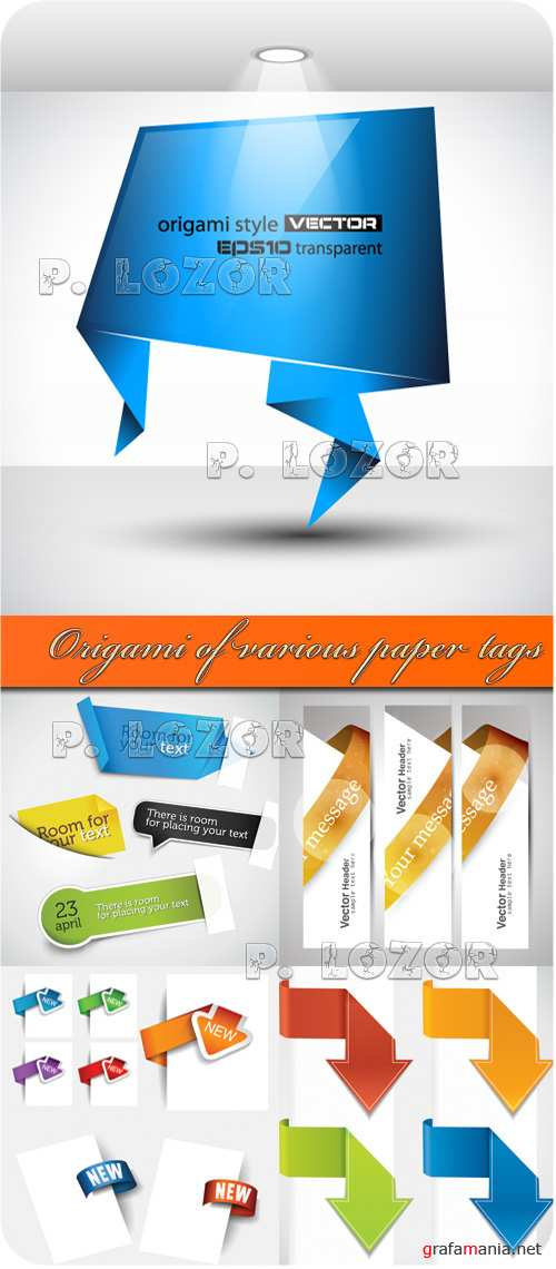 Origami of various paper tags