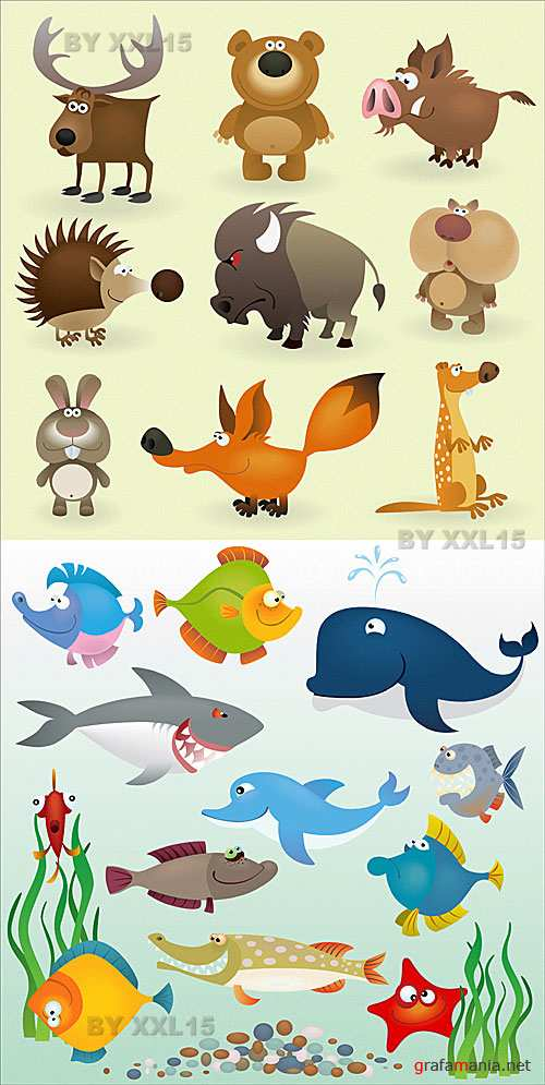 Cartoon animals and fishes