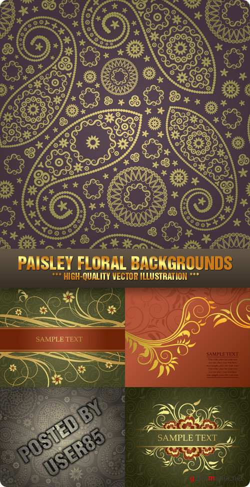 Stock Vector - Paisley Floral Backgrounds
