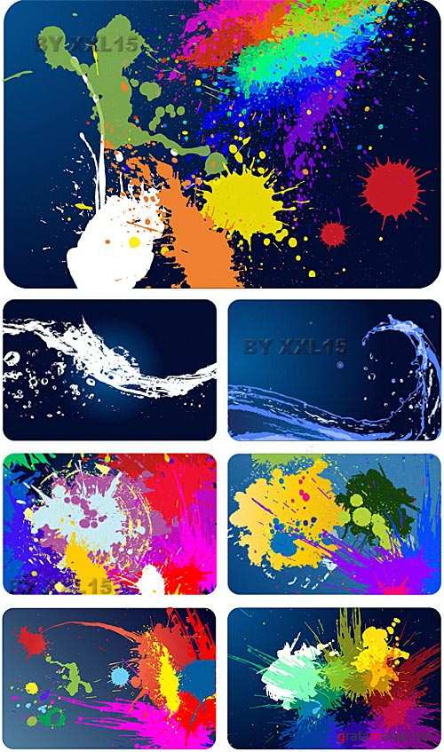 Paint and water splashes