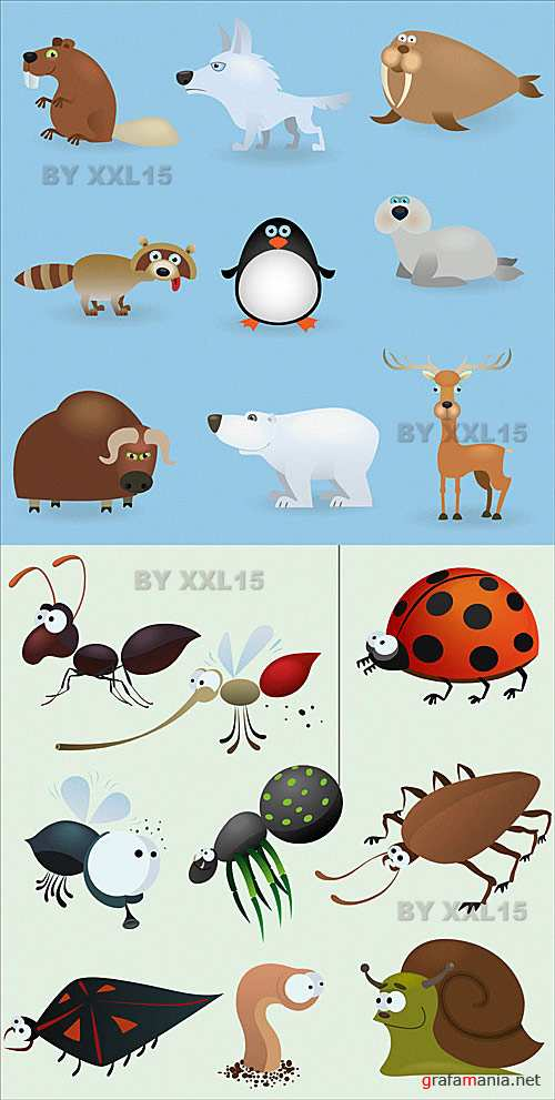 Cartoon animals and insects