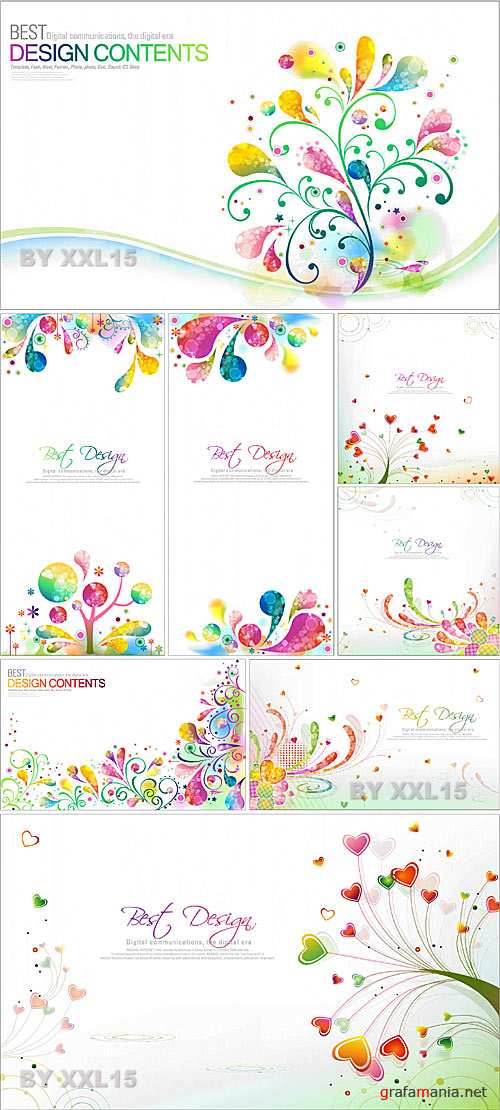Colorful abstract floral backgrounds