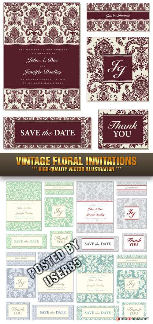 Stock Vector - Vintage Floral Invitations