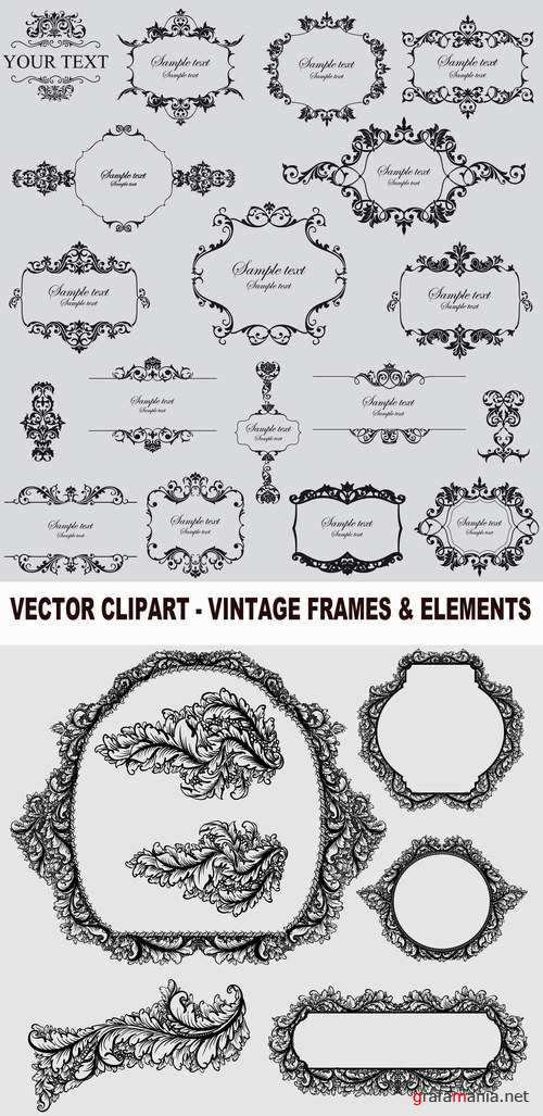 Vector clipart - vintage frames & elements