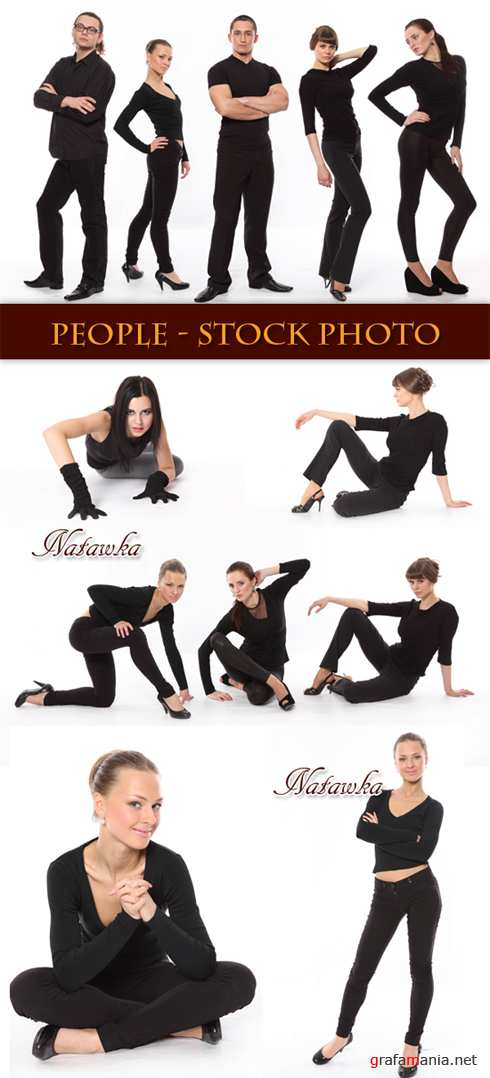 People in black - Stock Photo