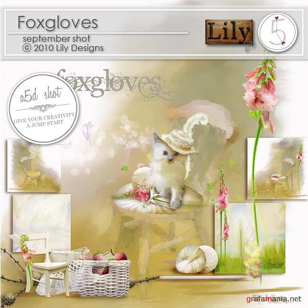 Scrap kit  Foxgloves