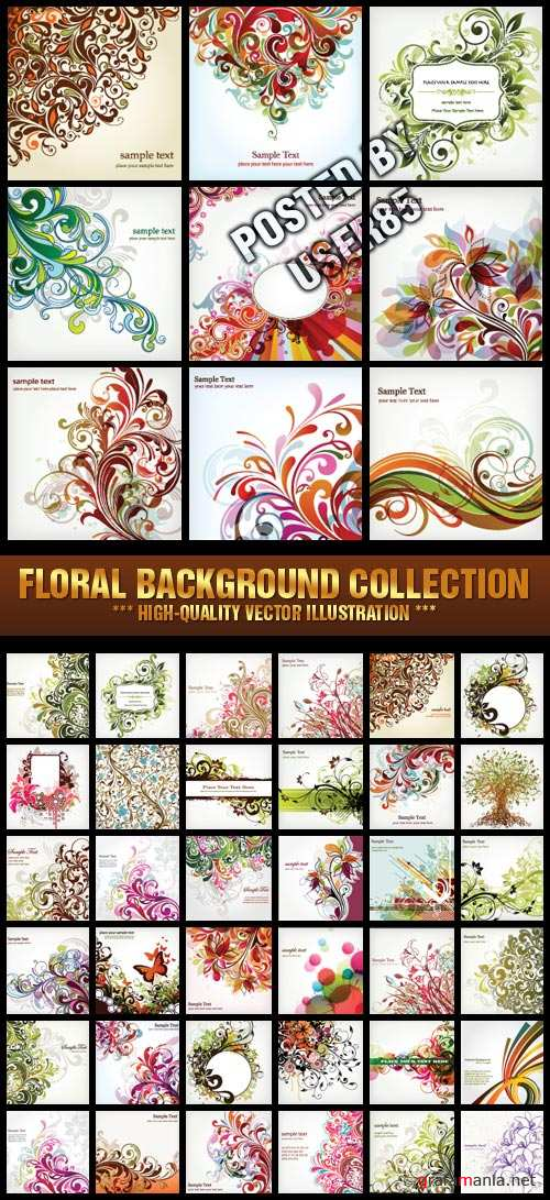 Stock Vector - Floral Background Collection