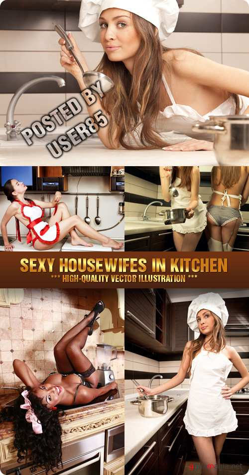Stock Photo - Sexy Housewifes in Kitchen
