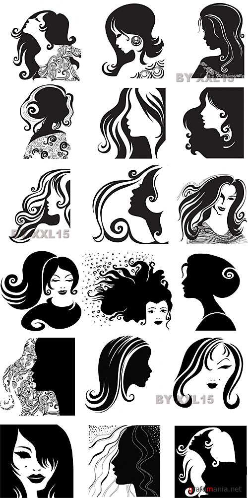 Silhouettes portraits of women