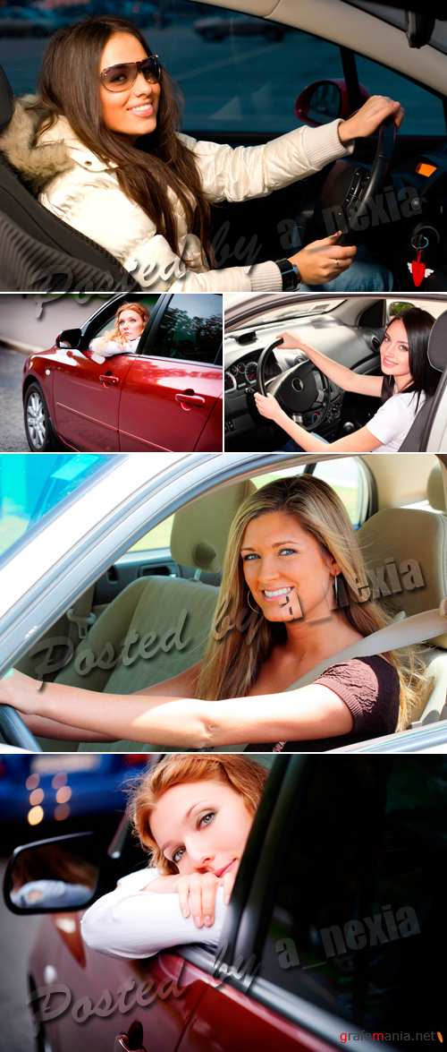 Stock Photo - Woman driving the car