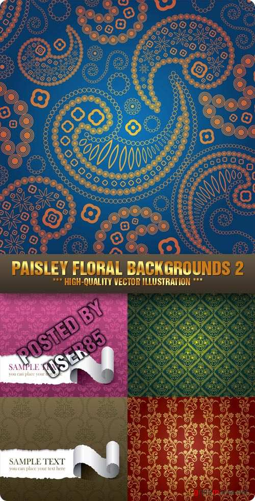 Stock Vector - Paisley Floral Backgrounds 2