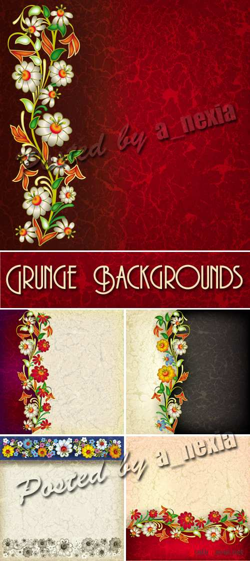 Grunge Backgrounds with Ornament Vector