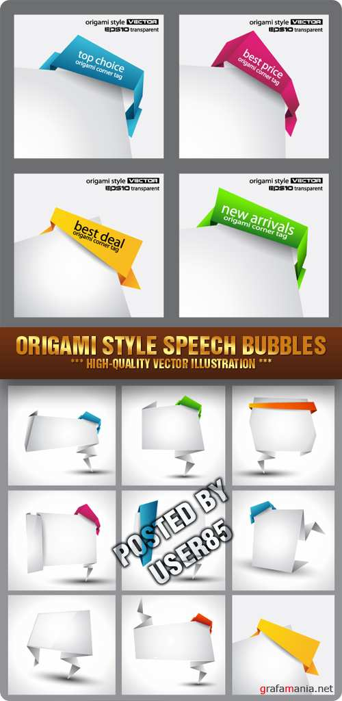 Stock Vector - Origami Style Speech Bubbles