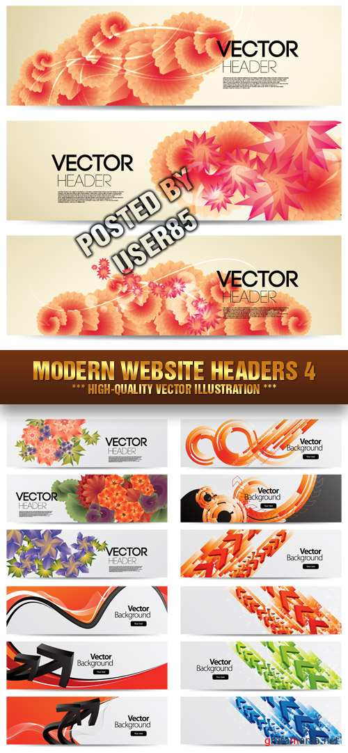 Stock Vector - Modern Website Headers 4