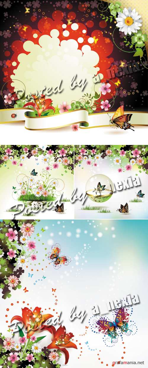 Floral Backgrounds with Butterflies Vector