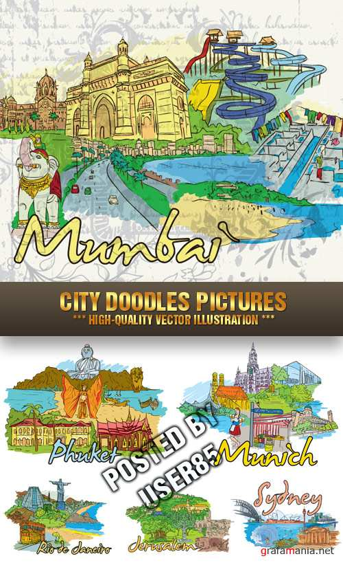 Stock Vector - City Doodles Pictures