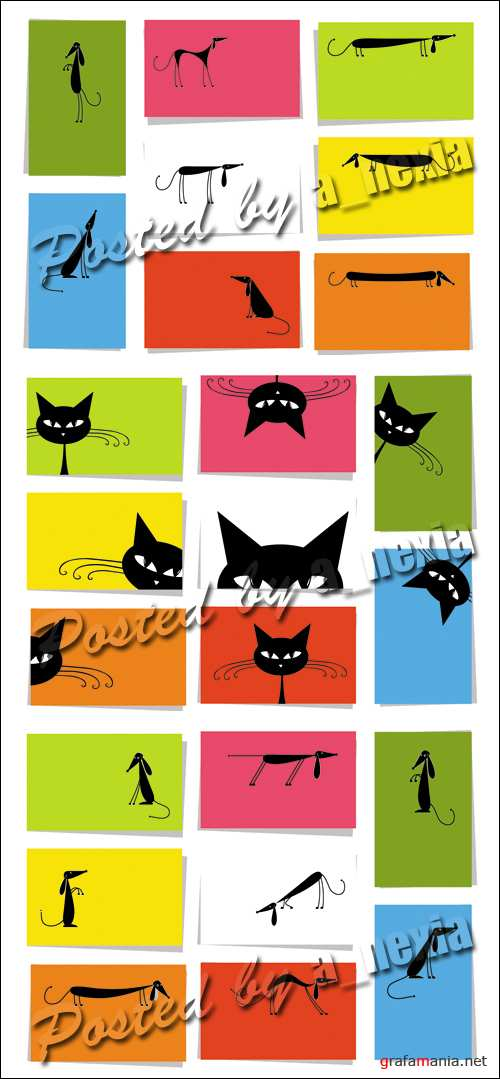 Funny Cats & Dogs Cards Vector