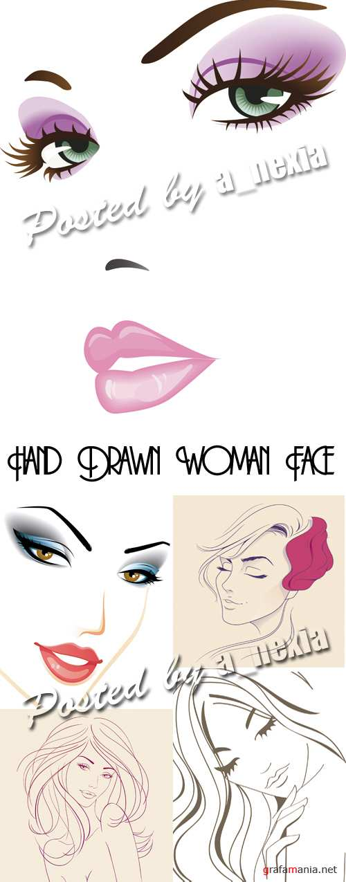 Hand Drawn Woman Face Vector