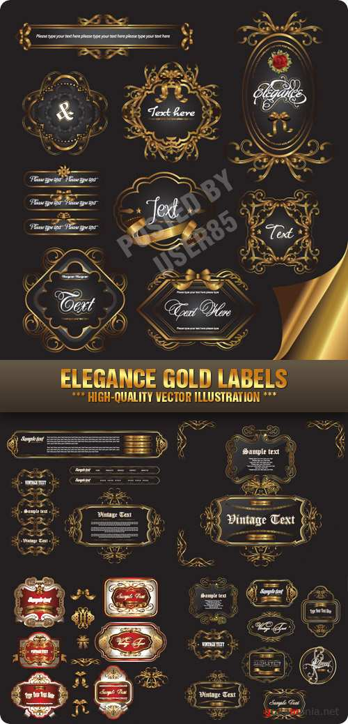 Stock Vector - Elegance Gold Labels