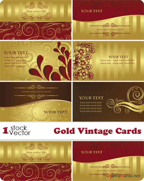 Gold Vintage Cards Vector