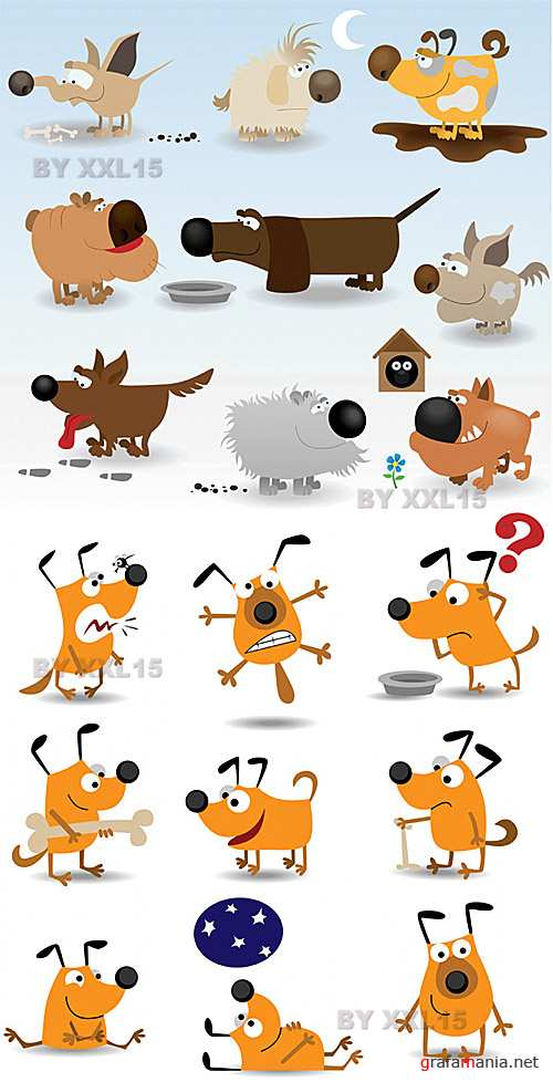 Cartoon funny dogs