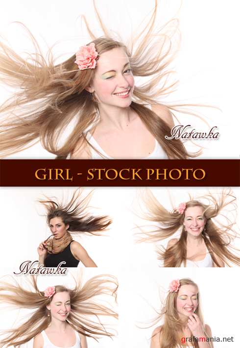 The girl with flying hair - Stock Photo