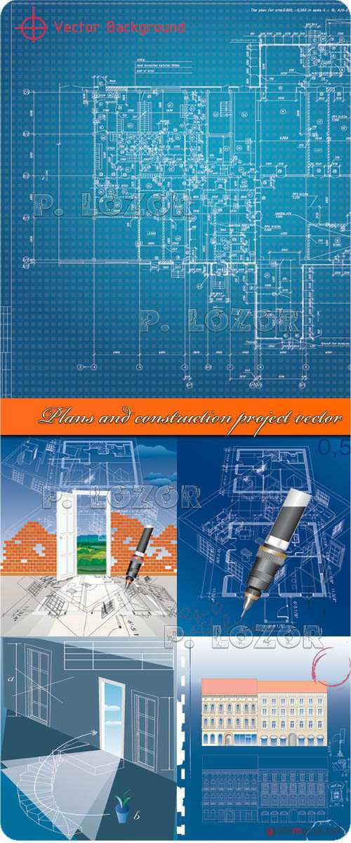 Plans and construction project vector