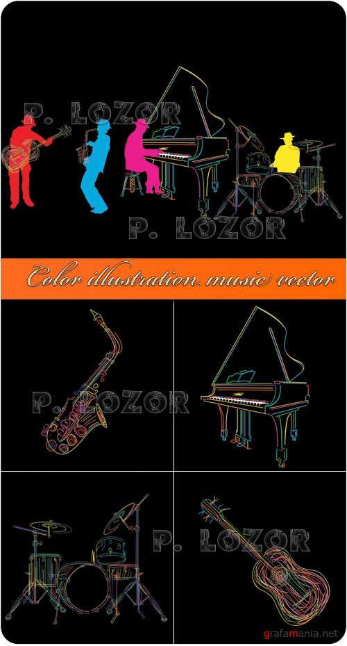 Color illustration music vector