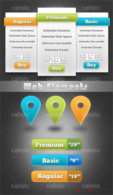 Web Elements Mix - Price Plan, Buttons, Map markers